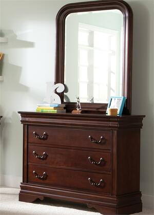 Carriage Court Collection 709-YBR-DM 2-Piece Bedroom Set with Dresser and Mirror in Mahogany Stain