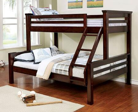 Marcie Collection CM-BK450TQ-BED Twin Over Queen Size Bunk Bed with Attached Ladder  Top Guard Rails  Slats Top/Bottom  Solid Wood and Wood Veneer Construction