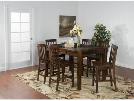 Santa Fe Collection 1274DCDT6BS 7-Piece Dining Room Set with Dining Table and 6 Barstools in Dark Chocolate
