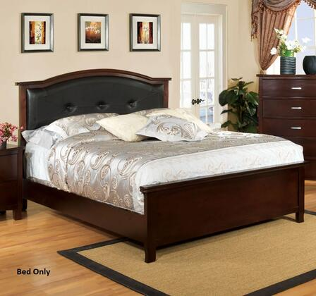 Crest View Collection CM7599Q-BED Queen Size Bed with Padded Leatherette Headboard  Replicated Wood Grain and Solid Wood Construction in Brown Cherry