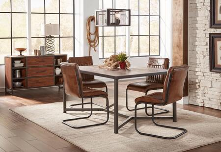 Studio 16 Collection 1661T4CS 6-Piece Dining Room Set with Dining Table  4 Side Chairs and Server in Brown and