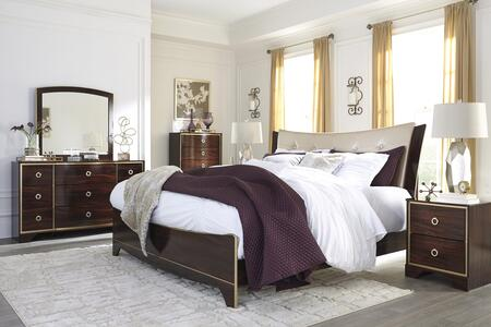 Lenmara King Bedroom Set With Panel Bed  Dresser  Mirror And Single Nightstand In Reddish