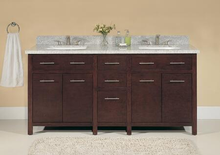 WF6730-72/DC 72 inch  Double Sink Wood Vanity With Polished Bethel White Solid Granite Top and