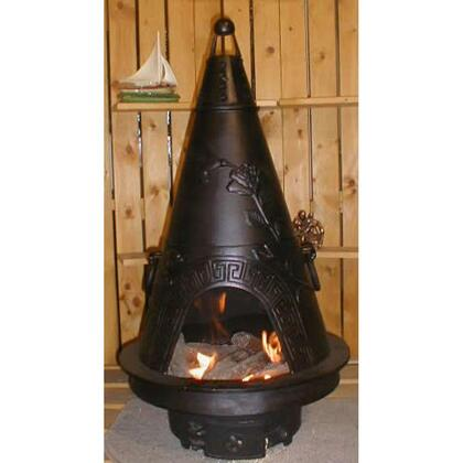 ALCH009CHGKLP Garden Chiminea Outdoor Fireplace With Gas  Cast Iron Bottom Grate  Carry Handles  Removable Top  Non-Rusting Cast Aluminum Body & In Charcoal -