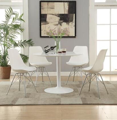 Lowry Collection 105261-4SC792 5-Piece Dining Room Set with Round Dining Table and 4 Side Chairs in