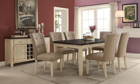 Faymoor Collection 71755T58CS 8 PC Dining Room Ser with Dining Table + 6 Side Chairs + Server in Antique White