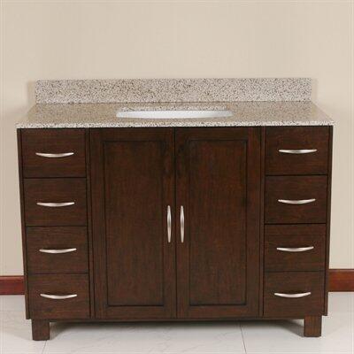 WF6829-48/DC Single Sink Wood Vanity With Granite Top and