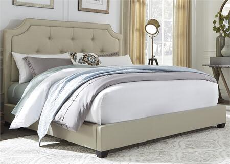 100-BR-QUB Queen Upholstered Bed with Button Tufted Headboard  Fabric Upholstery and Tapered Block Feet in Natural Linen