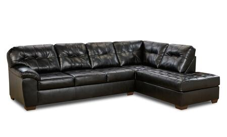 Showtime Collection 9568LSHOWTIMEONYX 2-Piece Sectional Sofa with Left Arm Facing Sofa and Right Arm Facing Chaise in