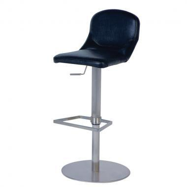 0567-AS-BLK Pneumatic Gas Lift Adjustable Height Swivel Stool Finish in Brushed Stainless