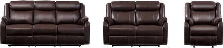 U9303C-BR-RSRLGR 3-Piece Living Room Set with Reclining Sofa  Reclining Loveseat and Recliner in