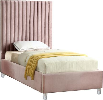 Candace Collection CandacePink-T Twin Size Bed with Velvet Fabric Upholstery  Channel Tufted Headboard  Slats Included and Acrylic Feet in