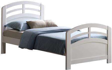 San Marino Collection 19150T Twin Size Bed with Medium-Density Fiberboard (MDF) and Solid Wood Construction in White