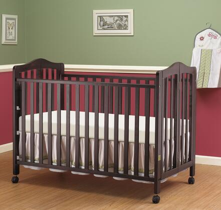 374-ES Lisa Two Level Full Size Folding Crib with Dual Wheel Fully Hooded Locking Castors  Solid Wood Frame and Tools Included for Assembly in