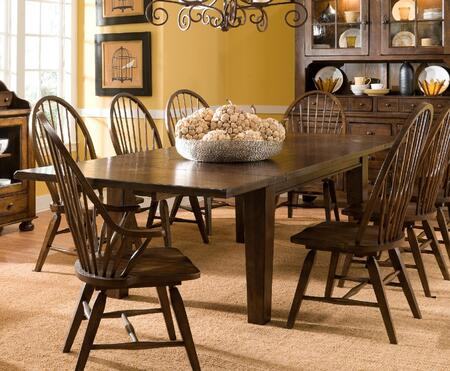 Attic Heirlooms 5399T6SC2AC Kit Including Extendable Table 6 Side Chairs and 2 Arm Chairs in Rustic Oak