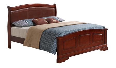 G3100C-QB2 Queen Size Bed with Wood Veneer  Sleigh Backboard  Leather Headboard  Bracket Legs and Molding Details  in
