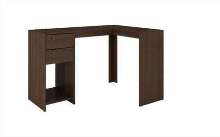 Palermo Collection 41AMC49 50 inch  Classic L-Desk with 2 Drawers  Ring Holes and 1 Open Shelf in