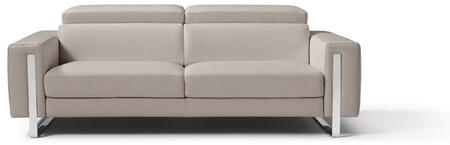 SO1423LSWGRY Adriano Sofa  100% Made In Italy  Warm Grey Grain Leather 1063 L09S  Adjustable Headrest  Polished Stainless Steel