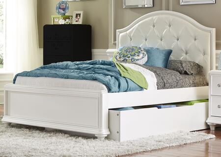 Stardust Collection 710-YBR-TTR 83 inch  Twin Trundle Bed with Twin Trundle  White Vinyl Upholstery  Crystal Buttons and Turned Bun Feet in Iridescent White