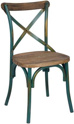 Zaire Collection 73072 19 inch  Side Chair with  inch X inch  Metal Backrest  Wooden Seat  Steel and Solid Chinese Fir Wood Construction in Walnut and Antique Turquoise