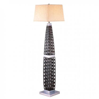 Zara L94178F-PK Floor Lamp with Transitional Style  Square Empire Shade  Black Finish with Chrome Accents  Shade size: 12
