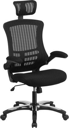 BL-X-5H-GG High Back Black Mesh Executive Swivel Office Chair with Flip-Up Arms and Chrome-Nylon Designer