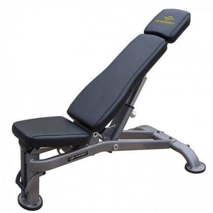 E-3587 Commercial Multi-Adjustable Bench with Single-Piece Mainframe  Transport Wheel and Rubber Feet in Black and