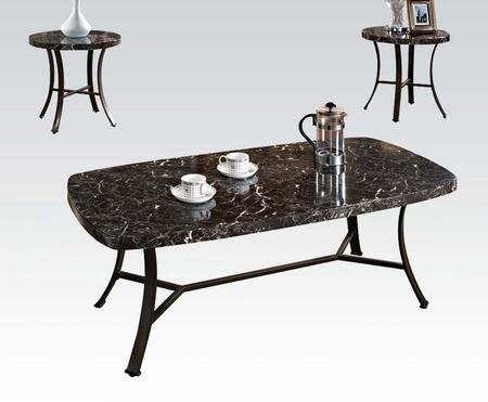 Daisy Collection 80252 3 PC Living Room Table Set with Coffee Table  2 End Tables  Black Faux Marble Top  Paper Veneer and Iron Tube Materials in Antique