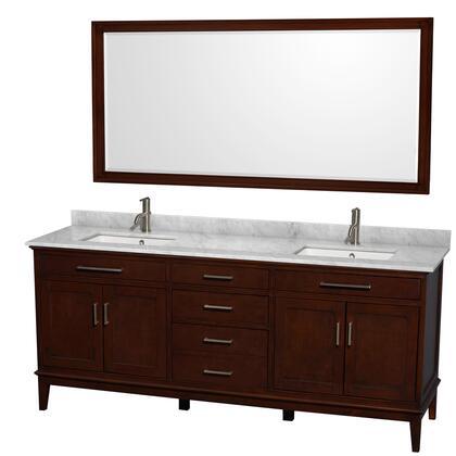 Wcv161680dcdcmunsm70 80 In. Double Bathroom Vanity In Dark Chestnut  White Carrera Marble Countertop  Undermount Square Sinks  And 70 In.