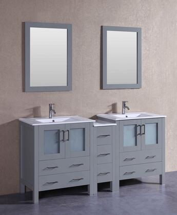 AGR230U1S 72 inch  Double Vanity with White Ceramic Top  Integrated Sink  F-S01 Faucet  Mirror  4 Doors and 7 Drawers in