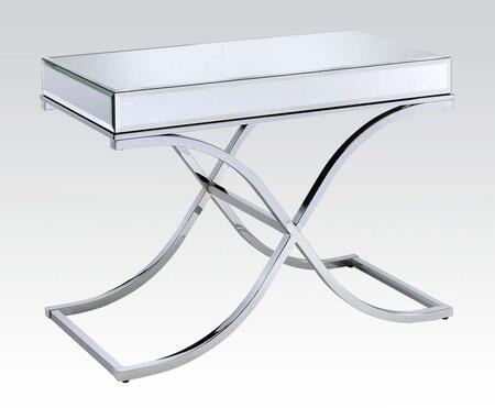 Yuri Collection 81199 42 inch  Sofa Table with 5mm Clear Mirrored Panels  Beveled Edges  Square Shape   inch X inch  Base Design and Metal Frame in Chrome