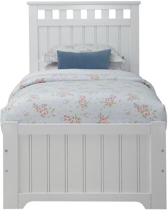 Claire Collection 67056370 Twin Size Bed with Open Slat Crown Elements  Vertical Grooves  Medium-Density Fiberboard (MDF) and Selected Hardwoods Construction