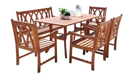 Malibu Collection V189set35 6 Pc Outdoor Dining Set With 4-foot Bench  Rectangle Table  4 Armchairs  Umbrella Hole And Eucalyptus Hardwood Construction In