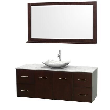 Wcvw00960sescmgs6m58 60 In. Single Bathroom Vanity In Espresso  White Carrera Marble Countertop  Arista White Carrera Marble Sink  And 58 In.