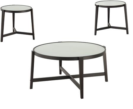 Ocassionals Table 700180 3 PC Living Room Table Sets with 2 End Tables  1 Coffee Table  White Tempered Glass Tops  Metal Frame and Tapered Wooden Legs in