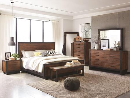 Ellison Collection 205241qset 7 Pc Bedroom Set With Queen Size Platform Bed + Dresser + Floor Mirror + Dresser Mirror + Chest + Nightstand + Bench In Bourbon