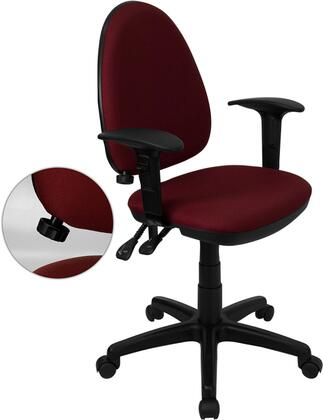 WL-A654MG-BY-A-GG Mid-Back Burgundy Fabric Multi-Functional Task Chair with Arms and Adjustable Lumbar