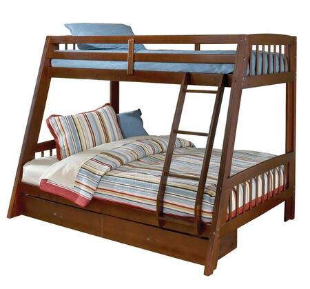 1608BB Rockdale Twin Over Full Size Bunk Bed with Under-Bed storage Drawers  Ladder  Pine and Plywood Construction in Cherry