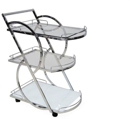 "Siena Collection CB-D210Cart 27"" Bar Cart with Casters  Chrome Metal Frame and Glass"