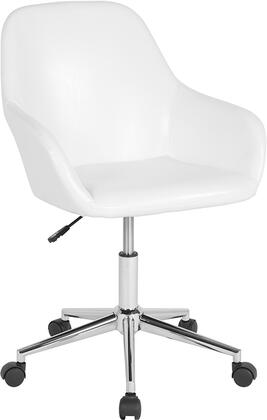 Cortana Collection DS-8012LB-WH-GG Home and Office Mid-Back Chair with CA117 Fire Retardant Foam  LeatherSoft Upholstery and Heavy Duty Chrome Base in