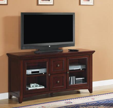 TC60-1012-C244 60 inch  TV Stand with Adjustable Shelves and Door Hinges  Beveled and Tempered Wood Framed Glass Doors and Pass Through Holes in Empire
