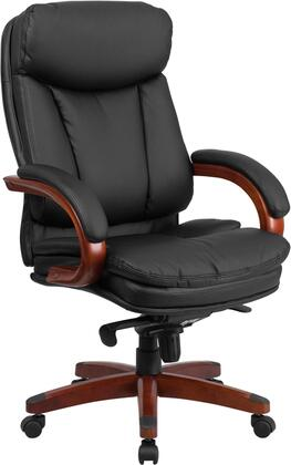 BT-90171H-S-GG High Back Black Leather Executive Swivel Office Chair with Synchro-Tilt Mechanism and Mahogany Wood