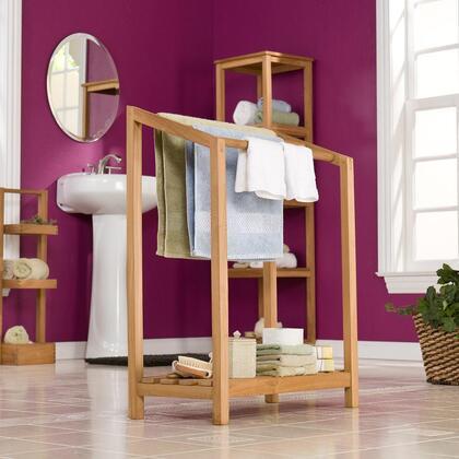 CR8907 Towel Rack Light Brown With Shelf Beneath Rack For Added Storage  3 Rungs To Hang Towels  100% Teakwood & In Light Brown Wooden