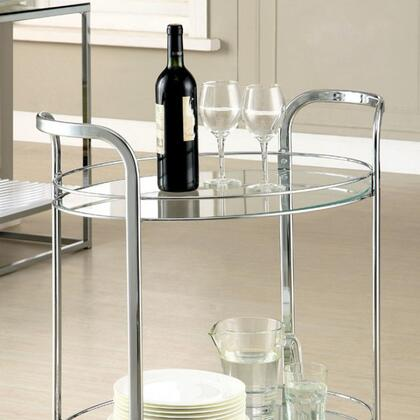 Loule CM-AC228 Serving Cart with Contemporary Style  5mm Black Tempered Glass  Chrome Base Structure  Gliding Castors in