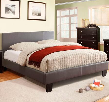 Winn Park Collection CM7008GY-F-BED Full Size Platform Bed with English Style Headboard  European Style Slat Kit  Solid Wood Construction and Leatherette