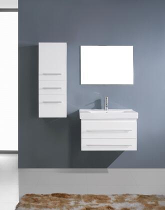 UM-3081-C-WH-001 Modern 29 Single Sink Bathroom Vanity Set White w/Brushed Nickel