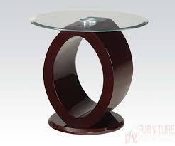 80417 Chastity End Table with Clear Glass Top in Wine