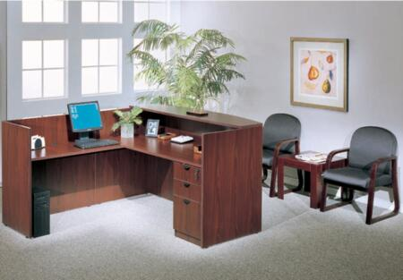 KIT1N169C Reception Desk Complete with Reception Return Reversible Shell  Pedestal Box File  and End Table in Cherry