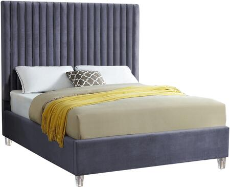 Candace Collection CandaceGrey-F Full Size Bed with Velvet Fabric Upholstery  Channel Tufted Headboard  Slats Included and Acrylic Feet in