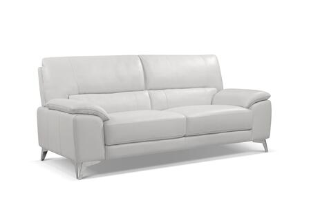 SO1466LSWHT Tatiana Sofa  White Top Grain Leather  Polished Stainless Steel